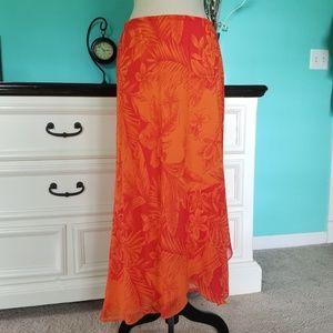 💖 Beautiful Tropical Print High Low Skirt size 14
